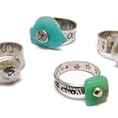 Lovely rings from our Riveted Rock Band class with Kriss Silva
