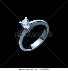 close up of diamond ring on black background