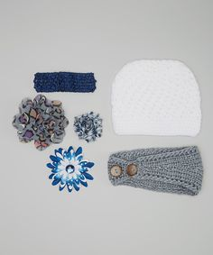 Sweethearts won't be able to contain their joy when they happen upon this accessory set. Delicately knit and oh-so cozy, the beanie and head wrap provide noggins with superior comfort and warmth. The charming clips and headband are perfect for taming tresses and keeping those precious hairdos in place. Includes one beanie, one head wrap, one headband and three clipsHead wrap: 16'' circumferenceBeanie: 14'' circumferenceHeadband: 11'' circumferenceShabby flower clip: 2.5'' diameterBlue flower…