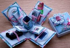 Another Sewing Kit Exploding Box Sewing Hacks, Sewing Crafts, Sewing Projects, Exploding Gift Box, Magic Box, Sewing Box, Craft Box, Pop Up Cards, Sewing Accessories