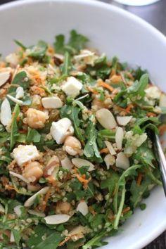 quinoa salad with chickpeas arugula feta and almonds quinoa salad with ...