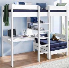 Hochbett, Kinder inklusive Sofabett,weiß,Massivholz Kiefer und MDF,+ Rollroste