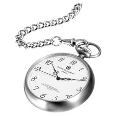 Charles-Hubert, Paris Stainless Steel Quartz Pocket Watch Charles-Hubert, Paris. $90.00. Mineral dial window. Swiss parts quartz movement. Stainless steel 46mm open face case with a matching curb chain. Deluxe gift box. White dial with Arabic numerals