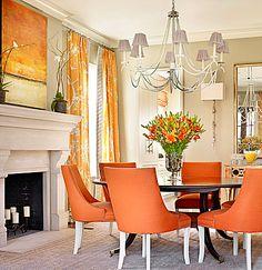 Orange is the New Black, Catherine Austin, dining room, interior design, orange chairs, fireplace