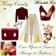 Disney Style: King Candy gold and burgundy Disney Bound Outfits Casual, Robes Disney, Disney Character Outfits, Disney Princess Outfits, Disney Themed Outfits, Character Inspired Outfits, Disney Prom, Disney Dress Up, Modern Princess Outfits