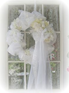 Bridal Bliss Wedding Cherub Cupid Angel Shower party wreath Vintage Bridal Lace Shabby Chic White Marie Antoinette Victorian Ornament  SCT