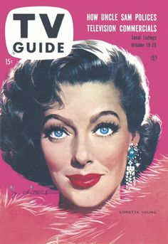 - TV Guide Magazine cover Loretta Young by Jon Whitcomb / October 1957 Loretta Young, Vintage Tv, Vintage Magazines, Olivia De Berardinis, Pop Art, Anthology Series, Romance, Old Shows, Tv Land