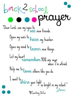 Back to school prayer printable - I just love this prayer as kids head back to school