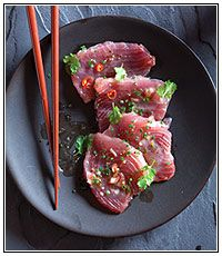 Tuna carpaccio with an asian dressing. #recipe #GoodTasteMag