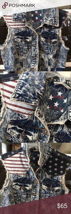 Vintage Denim Vest Perfect for July 4th 💥 Vintage denim vest, with Stars and Stripes. Never worn. Distressed look. Perfect for 4th of July. Jackets & Coats Vests
