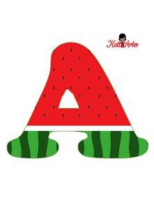 EUGENIA - KATIA ARTES - BLOG DE LETRAS PERSONALIZADAS E ALGUMAS COISINHAS: Alfabeto Melancia Watermelon Birthday Parties, Fruit Birthday, 1st Birthday Party Themes, Fruit Party, Diy Birthday, Maya, First Birthdays, Alphabet, Alice
