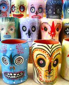 Jenny Mendes clay cups 'day of the dead""