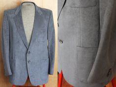 Vintage Men's Blue Suede Blazer Sport Coat by foundundertheeaves, $47.00