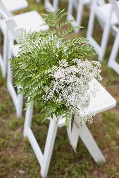 Aisle Decor Of Leather Leaf Fern And Baby's Breath By Southern Petals - Wake Forest, Nc. Photo By Mary Me Photography Wedding Pews, Wedding Chairs, Wedding Reception, Pew Decorations, Wedding Decorations, Wedding Centerpieces, Wedding Flower Packages, Wedding Flowers, Fern Bouquet