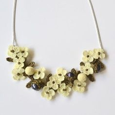 Elaborate Hand Crocheted Flower and Pearl Necklace - Ivory: