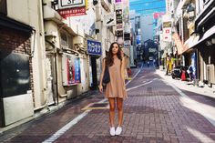 casual nude dress with sneakers All White Shoes, Vacation Style, Vacation Fashion, Nude Dress, Dress With Sneakers, Photo Diary, Tokyo Fashion, Dress To Impress, Stylists