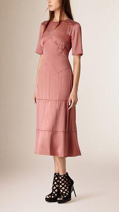 Rosa claret Vestido com recortes de seda - Imagem 1