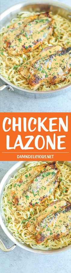 Chicken Lazone - Chicken breasts pan-fried in(Use spaghetti squash instead of pasta) butter and a homemade seasoning mix with the most amazingly, out-of-this-world cream sauce! And it's so easy! Pastas Recipes, Cooking Recipes, Healthy Recipes, Damn Delicious Recipes, Recipies, Healthy Meals, Bread Recipes, Easy Recipes, Vegetarian Recipes