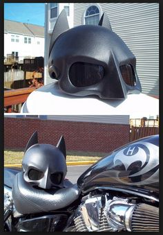 Batman half helmet - even though I'm a Superman guy, this looks wicked.