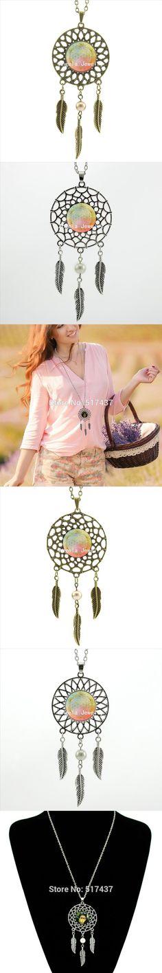 2017 Trendy Style Mandala Flower of Life Necklace Glass Mandala Jewelry Dream Catcher Pendant Dreamcatcher Necklace DC-00224