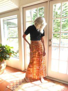 Vintage 1960's polyester maxi skirt op art funky by BopandAwe