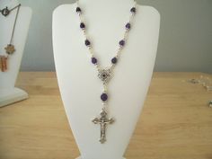 Natural Amethyst Beaded Cross Necklace by NXCESSORIES on Etsy