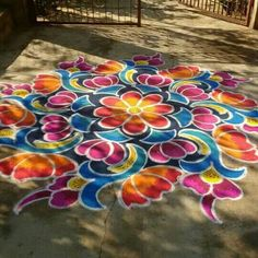 Couleurs Couleurs, Chalk is this type of fun method to be creative! It has a wonderful texture, many colors, and can b, Simple Rangoli Designs Images, Rangoli Patterns, Small Rangoli Design, Rangoli Border Designs, Rangoli Ideas, Colorful Rangoli Designs, Rangoli Designs Diwali, Beautiful Rangoli Designs, Chalk Design