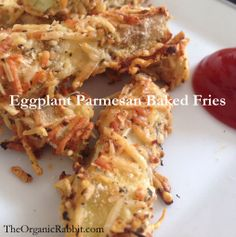 Eggplant Parmesan Baked Fries are a delicious gluten-free alternative to french fries. The cheese gives them a good crunch too. www.theorganicrabbit.com