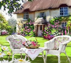 Richard MacNeil, UK http://www.themacneilstudio.com/    The chairs and table put me in this cool, shady lawn