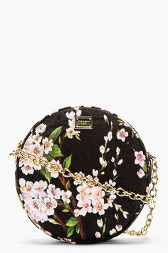 DOLCE & GABBANA  BLACK FLORAL PRINTED & EMBOSSED MISS GLAM BAG