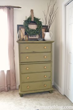 Mossy Green Dresser Re-do | lizmarieblog.com Possibly will use this idea on a wooden rocker I want to re-paint!