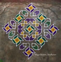 Rangoli and Art Works: Margazhi - Day 24 Kolam Rangoli Designs Latest, Rangoli Designs Flower, Rangoli Border Designs, Rangoli Patterns, Rangoli Designs Images, Rangoli Ideas, Rangoli Designs Diwali, Rangoli Designs With Dots, Rangoli With Dots
