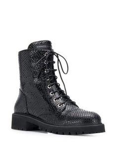 Black, calf Leather, rubber sole combat shoe. Calf Leather, Black Leather, Shoe Boutique, Luxury Shoes, Black Ankle Boots, Giuseppe Zanotti, Calves, Combat Boots, Women Wear
