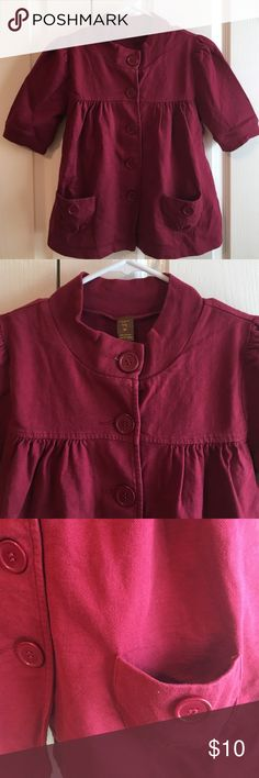 Burgundy -Copper Key - casual short sleeve jacket Casual Cool ❤️ COPPER KEY  Burgundy Red shirt sleev button-up jacket. Cardigan vibe but heavier material 100% cotton. Cute with shorts, jeans, slacks and dresses. Very universal piece. Copper Key Jackets & Coats