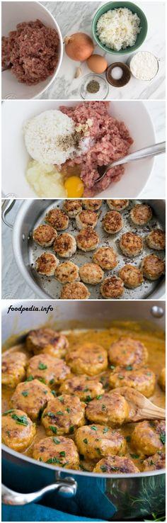 Chicken Meatballs in a Cream Sauce I Love Food, Good Food, Yummy Food, Easy Chicken Recipes, Turkey Recipes, Chicken Meatballs, Cooking Recipes, Healthy Recipes, Food Hacks