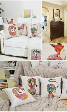 36 yuan 科伊斯北欧抽象动物棉麻抱枕田园花卉沙发靠枕抱枕创意腰靠方枕套-tmall.com天猫