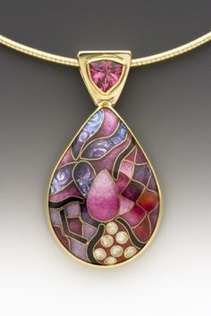 Pendant Enamel, 18k, 22k, and 24k gold, fine silver, and pink topaz  One-of-a-kind  SOLD