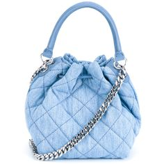 df0f0e3bf0db Stella Mccartney Beckett Quilted Denim Bucket Bag ($740) ❤ liked on  Polyvore featuring bags