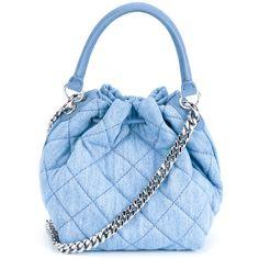 Stella Mccartney Beckett Quilted Denim Bucket Bag ($740) ❤ liked on Polyvore featuring bags, handbags, shoulder bags, purses, purse crossbody, crossbody handbags, quilted shoulder bag, bucket bag and crossbody shoulder bags