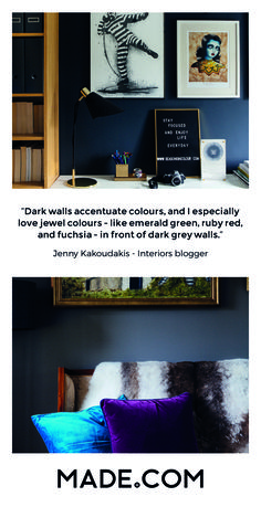 Interiors blogger Jenny Kakoudakis us into her family home in Surrey to give us the grand tour. Featuring a mix of styles, from modern to antique Greek pieces from her grandmother, we quizzed her on how to create a warm, family home with dark colours.
