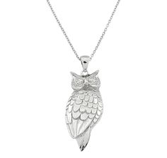 Silver Spectrum Sterling Silver Owl Pendant with Chain