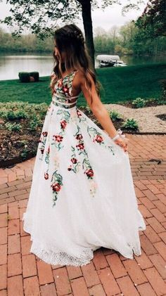 c80485b1d4b25 Charming A Line V Neck Backless White Lace Prom Dresses with Embroidery