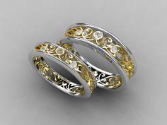 Wedding Band Set Two Tone Gold Diamond Mens Ring Filigree Lace