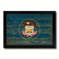 Utah State Vintage Flag Canvas Print with Black Picture Frame Home Decor Man Cave Wall Art Collectible Decoration Artwork Gifts