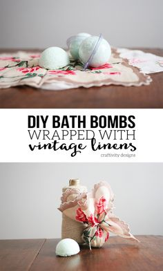 Gift Idea for Her! Make DIY Bath Bombs and wrap them in beautiful vintage linens. Get the tutorial by @CraftivityDGift Idea for Her! Make DIY Bath Bombs and wrap them in beautiful vintage linens. Get the tutorial by @CraftivityD