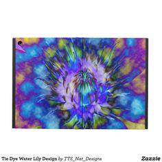 Tie Dye Water Lily Design iPad Air Case! Link: http://www.zazzle.com/tts_nat_designs #flower #flowerart #ipadcase #case #electronicscase #waterlily