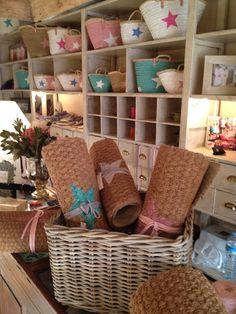 Baskets By Twenty Violets Ibiza, Beach Stores, Painted Baskets, Beach Essentials, Basket Bag, Handmade Bags, Wicker, Interior, Crafts