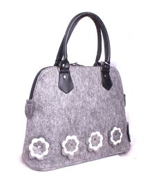 Felt tote bag Shopping bag Floral felt bag Felted shopper Grey felted bag Felt shoulder bag Felt purse Woman handbag Ladies messenger bag by volaris on Etsy