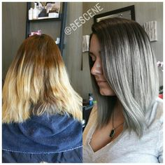 Transformation to GRAY! For this color I used @Schwarzkopfusa Igora Royal 4-13 7vol at her base and melted through 6-12 and 8-11,9.5-22 7vol to her ends!  Smooth blowout by my assistant @maayanbescene #BESCENE
