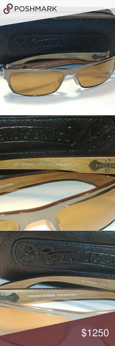 Chrome Hearts Throat Coat Sunglasses Chrome Hearts Throat Coat sunglasses made in Japan. near mint condition. Craftsmanship is truly amazing. New bronze colored Sunglass lenses. Chrome Hearts, Brown Wood, Sunglasses Accessories, Lenses, Kitten Heels, Mint, Bronze, Japan, Best Deals